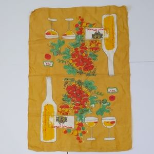 2/$20 Vintage linen yellow tea towel wine bottle